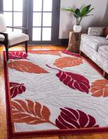 Unique Loom Outdoor Botanical Collection Warm Colors Leafs Transitional Indoor and Outdoor Flatweave Beige /Red  Area Rug (5' 0 x 8' 0)