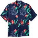 Cubavera Men's Big and Tall Short Sleeve 100% Rayon Point-Collar Tropical Floral Print Shirt