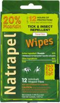 Natrapel Picaridin Insect Repellent Wipes – 20% Picaridin Bug Repellent Wipes Last up to 12 Hours, Travel Size Bug Spray, Family Insect Repellent, Repels Mosquitoes, Ticks, Chiggers, More
