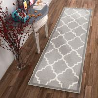 Non-Skid Slip Rubber Back Antibacterial 2x7 (2' x 7' Runner) Rug Dallas Moroccan Trellis Grey Modern Geometric Lattice Thin Low Pile Machine Washable Indoor Outdoor Kitchen Entry