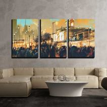 """wall26 - 3 Piece Canvas Wall Art - Beautiful Painting of People in a City Park at Sunset - Modern Home Decor Stretched and Framed Ready to Hang - 16""""x24""""x3 Panels"""
