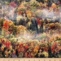 Hoffman Fabrics Digital Call Of The Wild Fall Forest Autumn Fabric Fabric by the Yard