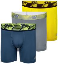 """New Balance Men's 6"""" Boxer Brief Fly Front with Pouch, 3-Pack of 6 Inch Tagless Underwear"""