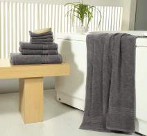 Value 8 Piece Towel Set (Charcoal) 2 Large Bath Towels 2 Hand Towels 4 washcloths - Cotton- Soft Absorbent for Bathroom Hotels Spa by Avira Home