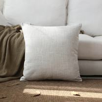 Kevin Textile Decor Lined Faux Linen Thick Euro Throw Cushion Pillow Covers Shams for Couch, Invisible Zipper, 45x45CM(Set of 1, Light Grey)