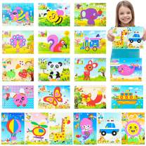 MALLMALL6 20Pcs Mosaic Sticker Art Kits for Kids DIY Mosaic Foam Stickers Art Crafts 3D Puzzle Drawing Stickers Craft Activities Early Learning Games Handmade Art Kit for Preschool Toddlers Boys Girl