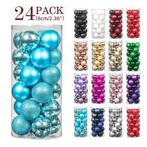 """Jusdreen 24pcs Christmas Balls Ornaments for Xmas Tree Shatterproof Christmas Tree Hanging Balls Decoration for Holiday Party Baubles Set with Hang Rope 2.36""""(Blue 60mm)"""