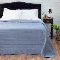 "Welhome Landon Modern Reversible Oversize Quilt Full/Queen Size - Heather Navy - 96"" x 96"" - Soft Textured - Lightweight - Cotton Polyester Quilt"