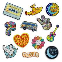 Iron on Hippie Patches Retro - The Carefree Bee | Set of 12 Iron On Vintage Patches, Cute Patches for Backpacks, Jeans, Jackets and Clothes | Peace Sign Patches | The Beatles Iron On Patches (Set 4)