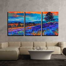 """wall26 - 3 Piece Canvas Wall Art - Original Oil Painting of Lavender Fields on Canvas Sunset Landscape - Modern Home Decor Stretched and Framed Ready to Hang - 16""""x24""""x3 Panels"""