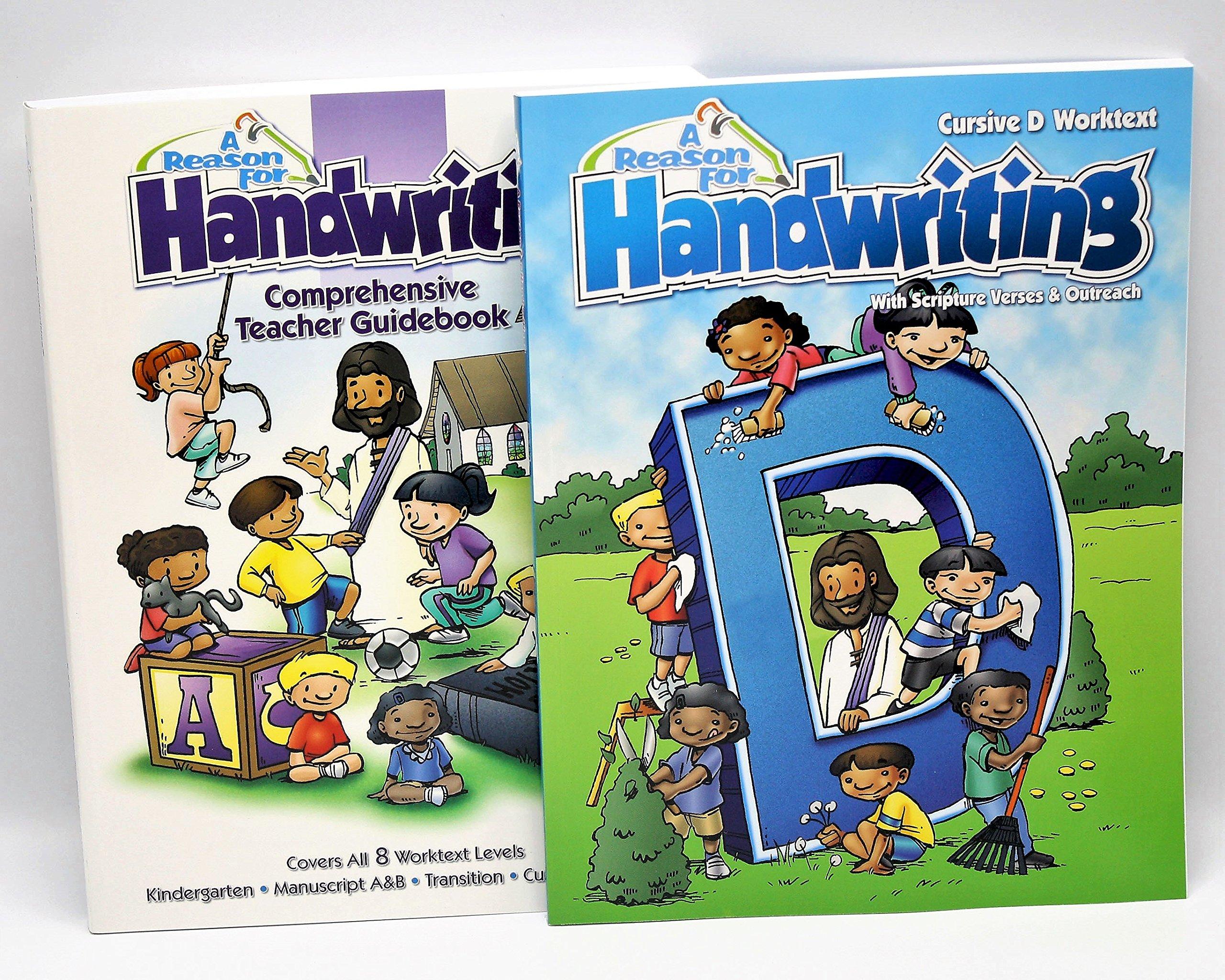 A Reason For Cursive Handwriting Workbook & Teacher Guidebook Level D, Grade 4 - Kids Writing Practice Books for 4th Graders & Beginners - Penmanship Workbooks for Homeschooling & Practicing