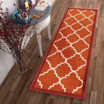 """Well Woven Non-Skid Slip Rubber Back Antibacterial 3x12 (2'7"""" x 12' Runner) Rug Dallas Moroccan Trellis Rust Red Modern Geometric Lattice Thin Low Pile Machine Washable Indoor Outdoor Kitchen Entry"""