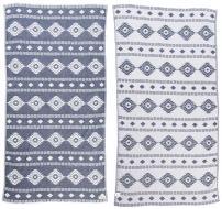 Bersuse 100% Cotton Belize Dual-Layer Handloom Turkish Towel - 37X70 Inches, Dark Blue