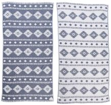 Bersuse 100% Cotton - Belize Turkish Towel - Peshtemal Bath Beach Towel - Aztec Design - Dual-Layer, Oeko-TEX - 37 x 70 Inches, Dark Blue (Set of 6)