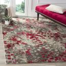 "Safavieh Monaco Collection MNC225R Modern Boho Abstract Watercolor Area Rug, 6' 7"" Square, Grey/Fuchsia"