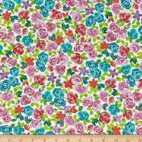 Robert Kaufman Girl Power 2 Flowers Fabric, Rainbow, Fabric By The Yard
