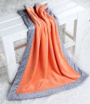 Bacati - Playful Foxs Orange/Grey Plush Blanket (Solid Orange with Grey Border)