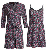 Rene Rofe Sleepwear Women's Robe and Chemise 2 Piece Soft Touch Set