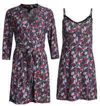 Rene Rofe Sleepwear Women's Robe and Chemise 2 Piece Soft Touch Set
