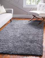Unique Loom Davos Shag Collection Contemporary Soft Cozy Solid Shag Peppercorn Area Rug (5' 0 x 8' 0)