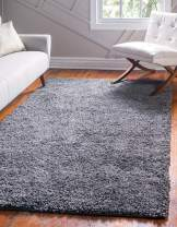 Unique Loom Davos Shag Collection Contemporary Soft Cozy Solid Shag Peppercorn Area Rug (6' 0 x 9' 0)