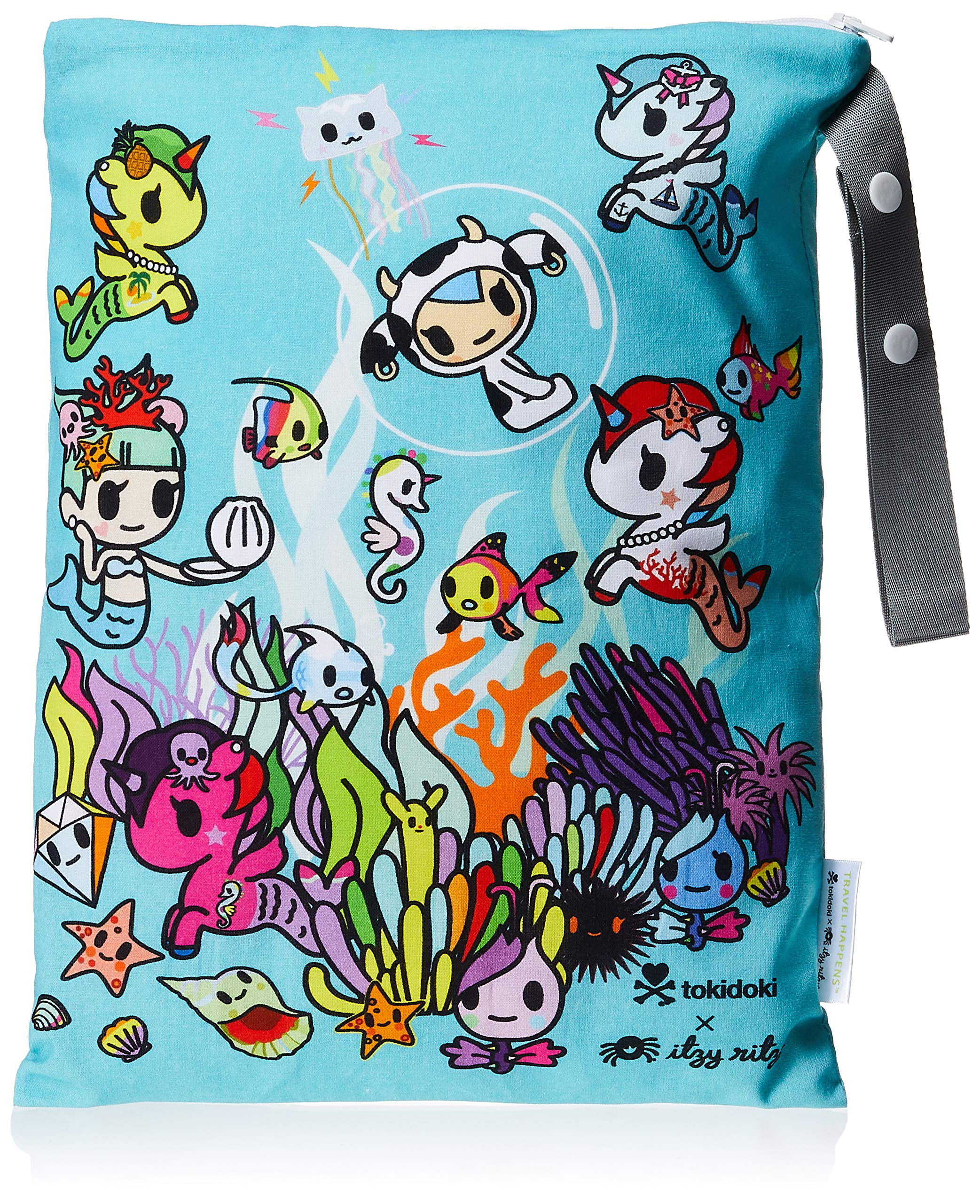 """Itzy Ritzy Sealed Wet Bag With Adjustable Handle – Washable, Reusable Wet Bag with Water Resistant Lining Ideal for Swimwear, Diapers, Gym Clothes, Toiletries; Measures 11"""" x 14"""", Underwater Adventure"""
