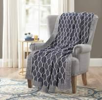 GLAMBURG Farmhouse Knitted Throw Blanket for Couch Sofa Bed Beach Travel 50x60, Cotton Throw Blanket for Adults, All Season Cable Knit Throw Blanket, Cotton Knitted Throw Blanket Navy Blue