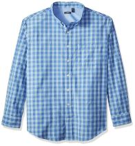 IZOD Men's Big and Tall Saltwater Breeze Plaid Long Sleeve Shirt