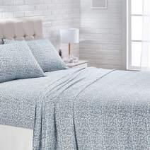 AmazonBasics Super-Soft Cotton Bed Sheet Set - Cal King, Aqua Scroll