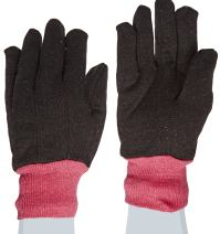 """West Chester 69090 Polyester Cotton All Purpose Jersey Glove with Red Fleece Lining, Work, Knit Wrist Cuff, 9-5 8"""" Length, Women's, Brown (Pack of 1 Pair)"""