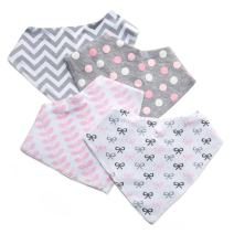 Baby Bandana Drool Bibs, 4 Pack Pink Leakproof Burp Cloth Soft Absorbent Cotton