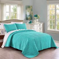 Pure Bedding Quilt Set Full/Queen Size Aqua - Oversized Bedspread - Soft Microfiber Lightweight Coverlet for All Season - 3 Piece Includes 1 Quilt and 2 Shams, Geometric Pattern