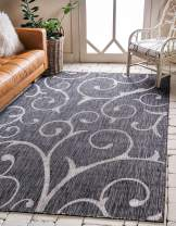 Unique Loom Outdoor Botanical Collection Vine Floral Transitional Indoor and Outdoor Flatweave Charcoal Gray  Area Rug (4' 0 x 6' 0)