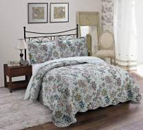 Brilliant Sunshine Green Floral 3-Piece Quilt Set, Pre-Washed Coverlet, Reversible Bedspread, Lightweight All-Season, Full/Queen, Green