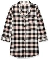 Amazon Brand - Mae Women's Sleepwear Cozy Flannel Notch Collar Sleep Shirt