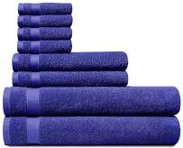 100% Cotton 8 Piece Towel Set (Navy Blue); 2 Bath Towels, 2 Hand Towels and 4 Washcloths, Machine Washable, Super Soft