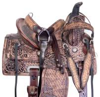 """Acerugs 10"""" 12"""" 13"""" 14"""" Premium Ranch Roping Youth Kids Western Leather Horse Saddle TACK Set Children"""