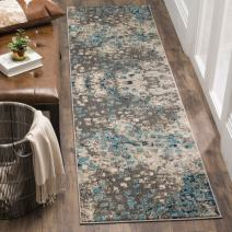 "Safavieh Monaco Collection MNC225E Modern Boho Abstract Watercolor Runner, 2' 2"" x 12', Grey/Light Blue"