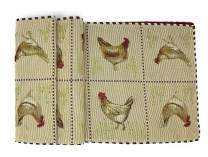 Tache Country Farmhouse Rooster Hens Chickens Antique Vintage Traditional Home Decorative Woven Tapestry Long Kitchen Dining Table Runners, 13x90