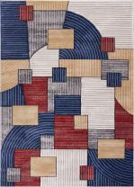 """Well Woven Adrift on Abstract Multicolor Area Rug 4 x 6 (3'11"""" x 5'3"""") Modern Geometric Squares Stripes Art Deco"""