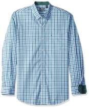 IZOD Men's Button Down Long Sleeve Stretch Performance Plaid Shirts