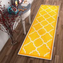"Non-Skid Slip Rubber Back Antibacterial 3x12 (2'7"" x 12' Runner) Rug Dallas Moroccan Trellis Yellow Modern Geometric Lattice Thin Low Pile Machine Washable Indoor Outdoor Kitchen Entry"