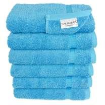 SALBAKOS Luxury Hotel & Spa Turkish Cotton 6-Piece Eco-Friendly Hand Towel Set 16 x 30 Inch, Aqua