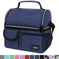 OPUX Insulated Dual Compartment Lunch Bag for Men, Women   Double Deck Reusable Lunch Pail Cooler Bag with Shoulder Strap, Soft Leakproof Liner   Large Lunch Box Tote for Work, School (Navy)