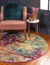 Unique Loom Jardin Collection Colorful Abstract Multi Round Rug (6' 0 x 6' 0)