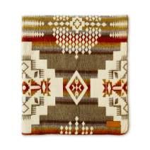 "Ecuadane Large Navajo Woven Blanket, Handmade in Ecuador by Local Artisans, Size 82"" x 93"" - Andes Cruz Tan Pattern"