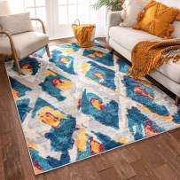 "Well Woven Watercolor Ikat Blue Boho Area Rug 3x5 (3'3"" x 4'7"") Soft Plush Modern Vintage Tribal Lattice Carpet"