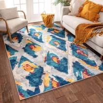 "Well Woven Watercolor Ikat Blue Boho Area Rug 3x5 (3'3"" x 4'7"") Soft Plush Modern Vintage Tribal Lattice Carpet"