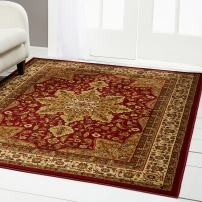 """Home Dynamix 8083-200 Royalty Ursa Traditional Round Area Rug 5'2"""" Round, Oriental Red"""