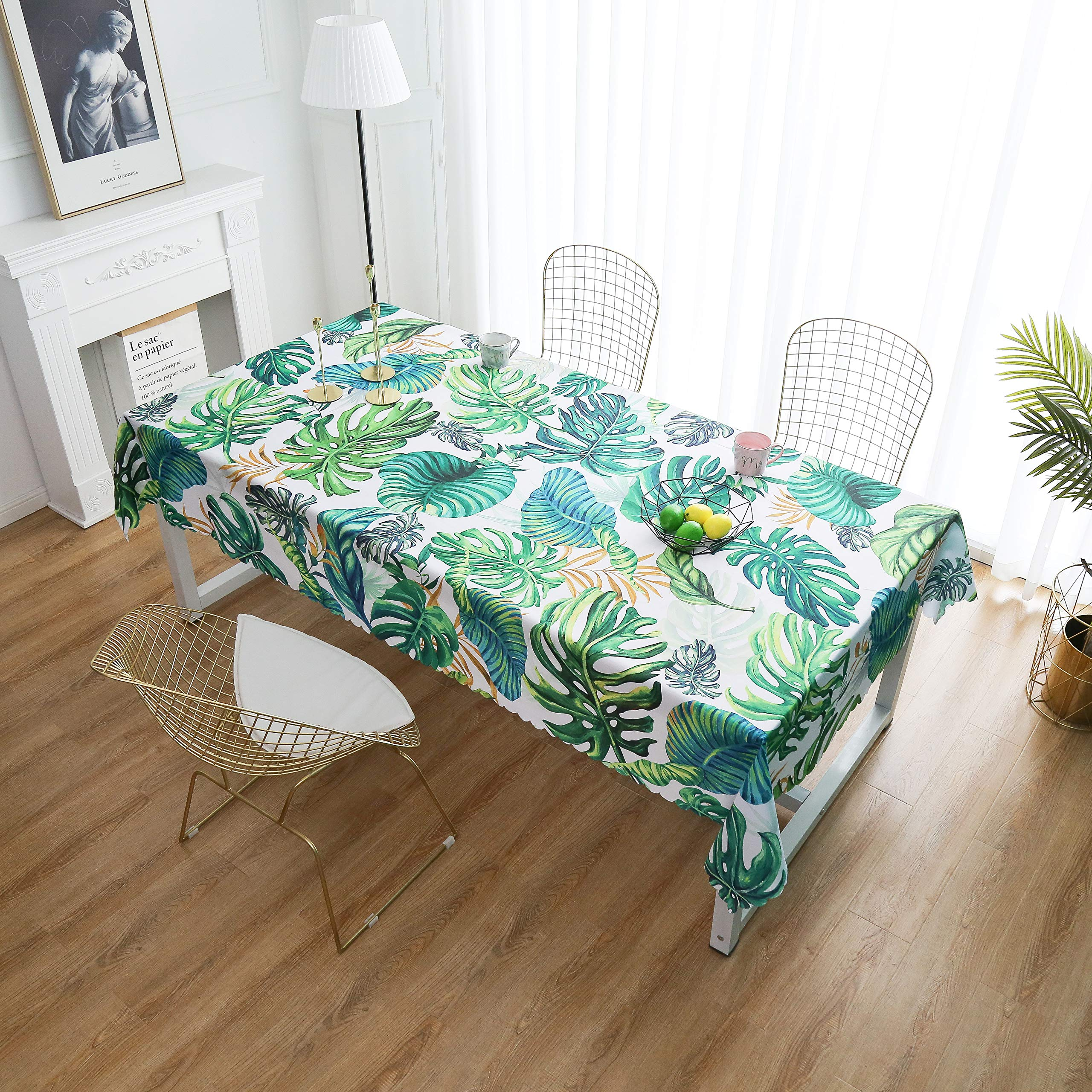 """iLiveX Tablecloth, Original Design Hand Drawing Art Print Table Cloth, Water-Proof Rectangle Table Cover, Kitchen Dining Indoor Outdoor Buffet Tabletop Decoration, 52""""x72"""" (Green Tropical)"""